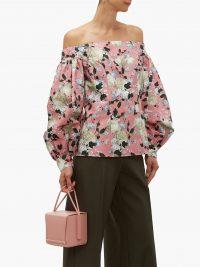 ERDEM Dayla off-the-shoulder floral-print cotton blouse in pink