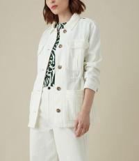 KAREN MILLEN Denim Jacket in Ivory ~ military style jackets