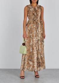 DIANE VON FURSTENBERG Lacey python-print silk wrap dress / ruffled snake printed dresses