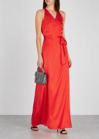DIANE VON FURSTENBERG Paola red satin wrap gown