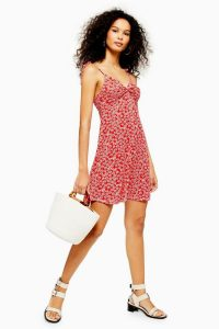 Topshop Ditsy Twist Front Dress Red | sweet summer dresses