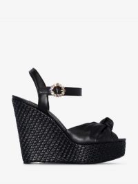 Dolce & Gabbana Black Raffia 90mm Wedged Sandals | luxe summer wedges