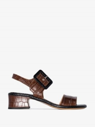 Dries Van Noten Brown 45 Buckled Croc Leather Sandals