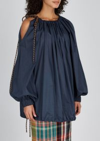 DRIES VAN NOTEN Curala navy cotton top