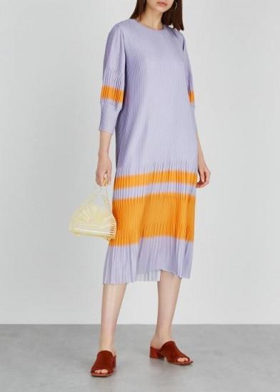 DRIES VAN NOTEN Dibana lilac plissé satin midi dress ~ orange paneled dresses