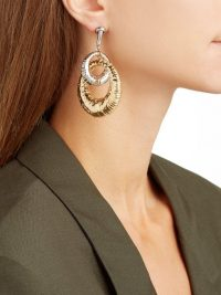 GIVENCHY Eclipse interlocking hoop earrings in gold and silver-tones ~ glamorous drop hoops