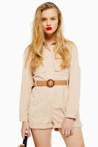 TOPSHOP Ecru Belted Utility Playsuit. UTILITARIAN FASHION