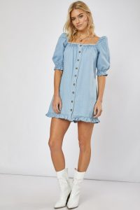 EMILY ATACK DENIM PUFF SLEEVE BUTTON DOWN DRESS | light-blue frill trim dresses