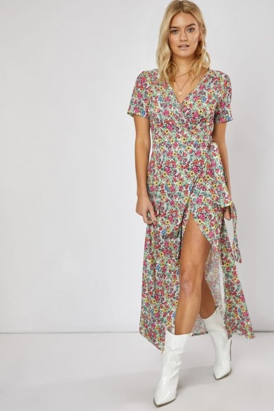 EMILY ATACK WHITE FLORAL PRINT WRAP MAXI DRESS | long summer tie waist dresses