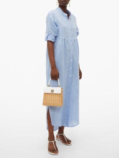 GIOIA BINI Emma linen kaftan in light-blue ~ chic vacation clothing