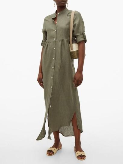 GIOIA BINI Emma linen shirtdress ~ effortless summer style ~ khaki-green shirt dress