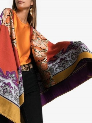 Etro Jacquard Knitted Cape Poncho ~ luxe printed capes - flipped