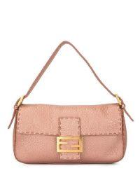 FENDI VINTAGE Selleria Mamma Baguette shoulder bag in Metallic Pink Leather – small designer handbag