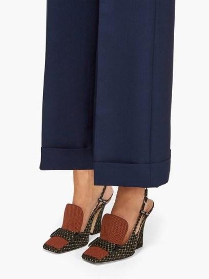 FENDI FFreedom square-toe brocade slingback pumps ~ chic shoes - flipped