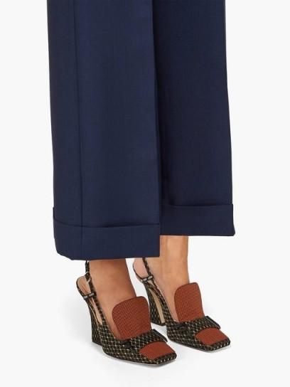 FENDI FFreedom square-toe brocade slingback pumps ~ chic shoes