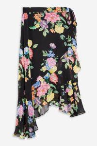 Topshop Floral Chiffon Wrap Midi Skirt in Black | asymmetric ruffle trim skirts