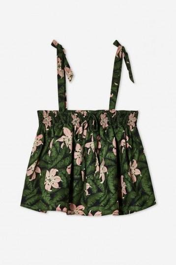 TOPSHOP Floral Print Crop Top Green / pretty summer cami - flipped