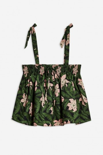 TOPSHOP Floral Print Crop Top Green / pretty summer cami