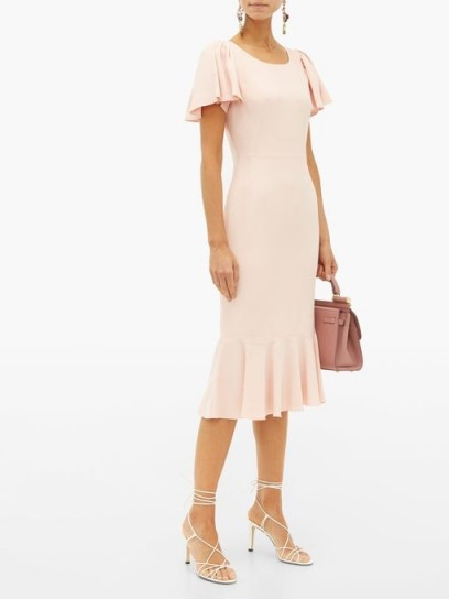 DOLCE & GABBANA Pink fluted-hem cady-crepe midi dress