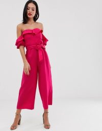 Forever New bardot belted jumpsuit in fuschia | hot-pink off the shoulder jumpsuits