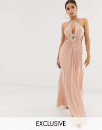 Forever Unique Exclusive embellished maxi dress with draped front in blush | pale-pink plunging gown