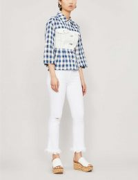 FRAME Frayed-hem straight mid-rise jeans blanc highway – white denim