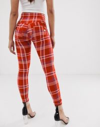 Freddy WR.UP check push up jegging in red | tartan denim skinnies