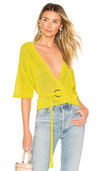 Free People Oh Hello Cardi Yellow | semi sheer belted cardigan