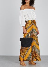 FREE PEOPLE Rio printed satin maxi skirt