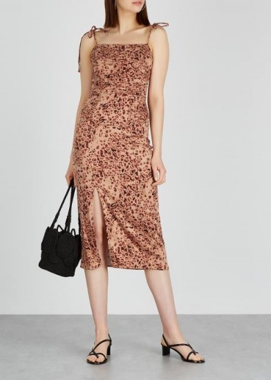 FREE PEOPLE Show Stopper stretch-satin midi dress ~ ruched summer dresses