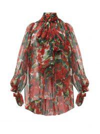 DOLCE & GABBANA Geranium-print silk chiffon pussy-bow blouse ~ flouncy blouses ~ beautiful Italian clothing