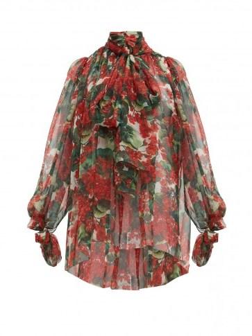 DOLCE & GABBANA Geranium-print silk chiffon pussy-bow blouse ~ flouncy blouses ~ beautiful Italian clothing - flipped