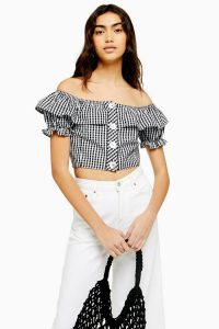 TOPSHOP Gingham Bardot Top / cropped off the shoulder blouse