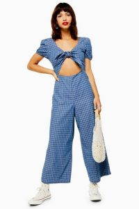 TOPSHOP Gingham Jumpsuit / cut-out jumpsuits / lightweight denim