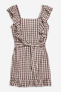 TOPSHOP Gingham Ruffle Mini Dress in Chocolate – brown frill trimmed dresses