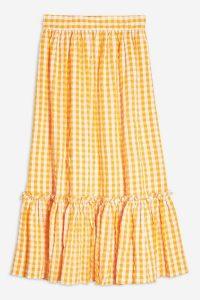 Topshop Gingham Wrap Midi Skirt Orange | vintage style summer wear