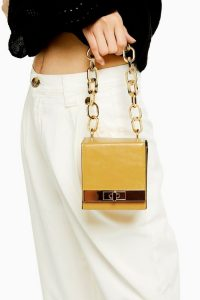 Topshop GLINT Yellow Boxy Grab Bag ~ mini chunky chain bags