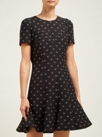 VALENTINO Go Logo-print flared-hem wool-blend dress in black / designer fashion