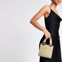 River Island Gold heatseal grab handle cross body bag   small metallic handbag
