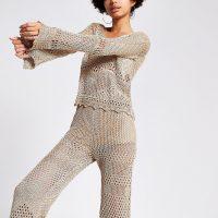River Island Gold metallic crochet top | summer knitwear