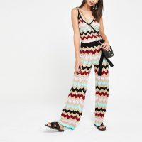 River Island Gold multi chevron stripe knitted jumpsuit | vintage patterned jumpsuits