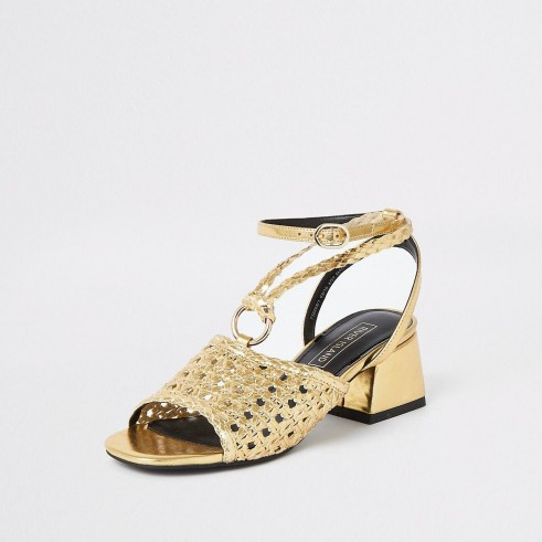 RIVER ISLAND Gold weave block heel sandals – summer party shoes