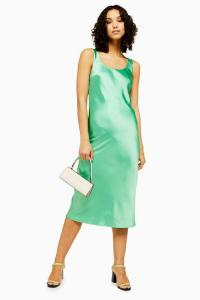 Topshop Green Built Up Slip Dress | 90s style silky dresses