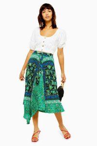 Topshop Green Paisley Print Midi Skirt | front draped pleated skirts