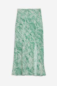 TOPSHOP Green Wavy Animal Satin Bias Skirt