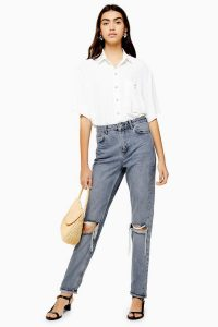 Topshop Grey Cast Double Rip Mom Jeans