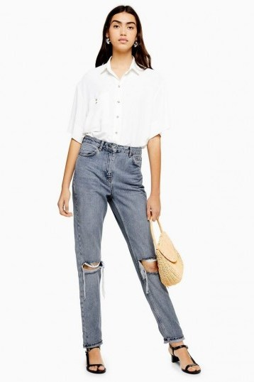Topshop Grey Cast Double Rip Mom Jeans - flipped