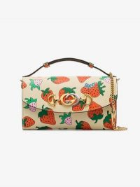 Gucci Gucci Zumi Strawberry Print Mini Shoulder Bag ~ small leather designer bags