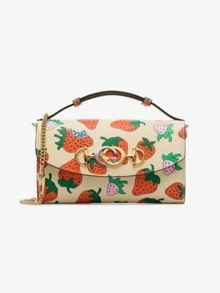 Gucci Gucci Zumi Strawberry Print Mini Shoulder Bag ~ small leather designer bags - flipped