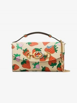 Gucci Gucci Zumi Strawberry Print Mini Shoulder Bag ~ small leather designer bags